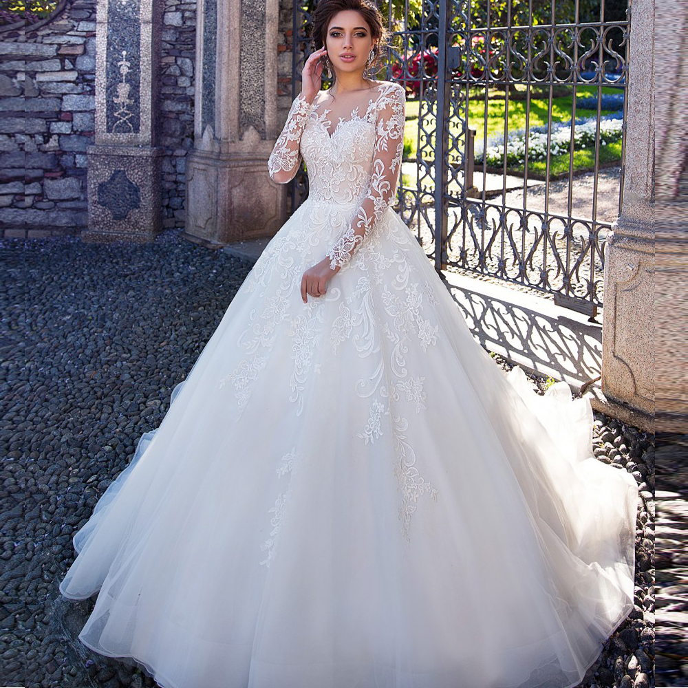 Vintage Long Sleeve Lace Wedding Dresses Princess 2020 New Boat Neck A Line Bride Dress Bridal Wedding Gowns Plus Size