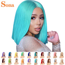 Парики из человеческих волос Red Bob на сетке спереди, 13x6, блестящие, розовые, синие, серые, зеленые, оранжевые, Имбирные, короткие, короткие, на с...