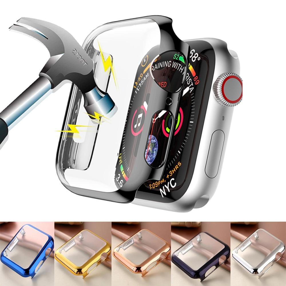 Чехол для Apple Watch 44 мм 40 мм iwatch 42 мм 38 мм, защитная пленка из поликарбоната для экрана, бампер, аксессуары для apple watch series 6 5 4 3 2 SE