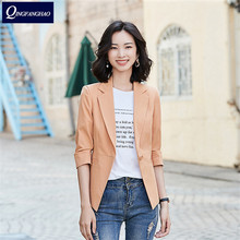 Professional small blazer female spring and summer fashion temperament mid-sleeved shirt Slim was thin Korean casual short