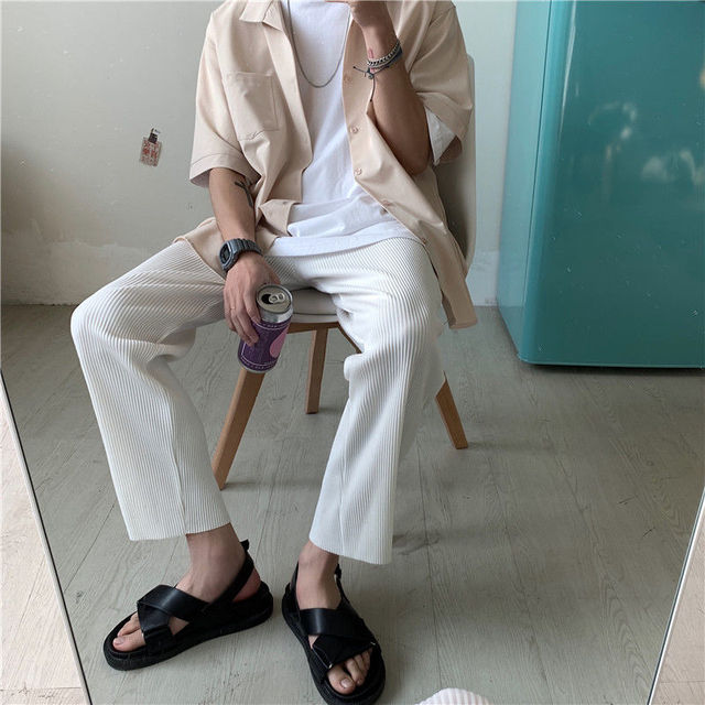 Pleated Straight Pants Men's Fashion Solid Color Elastic Waist Casual Pants Men Streetwear Loose Japanese Ice Silk Trousers Mens 4