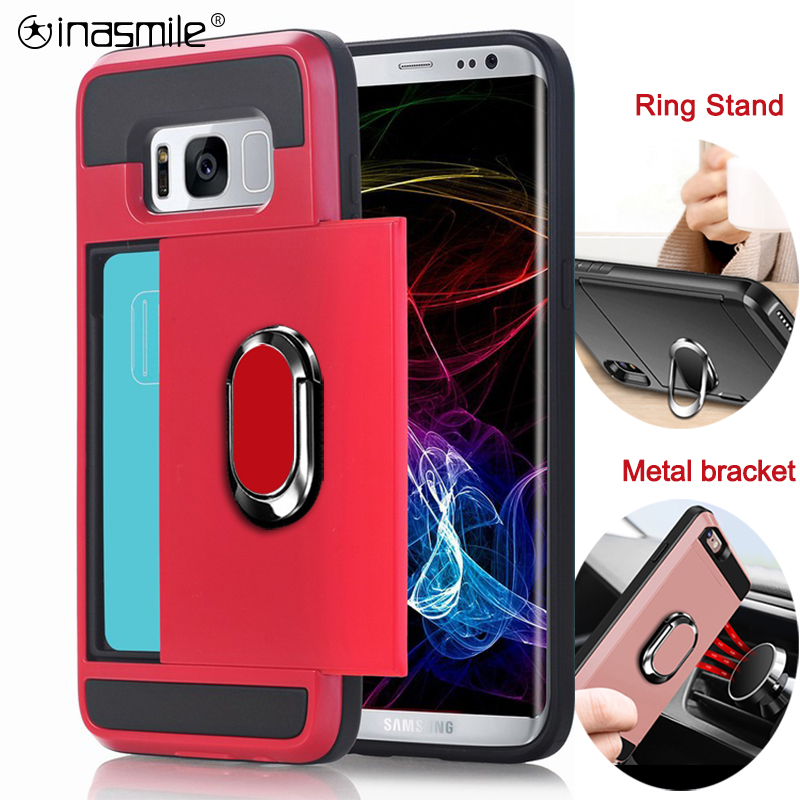 Slide Card Phone <font><b>Case</b></font> For <font><b>Samsung</b></font> Galaxy S10 <font><b>S9</b></font> S8 Plus S7 Edge Note 9 8 A3 A5 A7 A8 A9 <font><b>Shockproof</b></font> Holder Ring Armor Full Cover image
