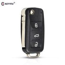KEYYOU Флип складной дистанционный ключ-брелок от машины для Volkswagen VW Tiguan GOLF PASSAT Polo Jetta Жук Hella 434 МГц ID48 чип 5K0837202AD