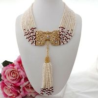 19 9Strands White 4 5MM freshwater Pearl Red Jade Necklace Zircon Pendant
