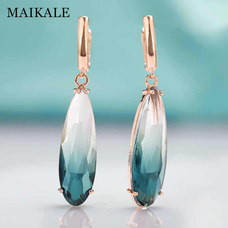 MAIKALE New Fashion Long Earrings For women Party Jewelry Rose Gold Big Water Drop Colorful Natural Zirconia Dangle Earring Gift
