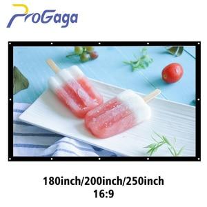 Проекционный экран ProGaga 180/200/250/300 дюймов, большой экран из холста для Sony XGIMI BenQ Optoma 3D, HD кинотеатр, занавеска для проектора