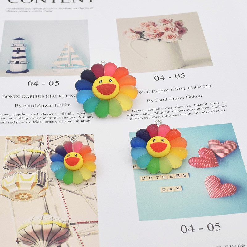Brinco de resina com pingente 3d, pingente de sol, flor de resina, sorridente, brincos, acessórios de joias de moda diy active 23/28, 10 unidades/pacote/36mm