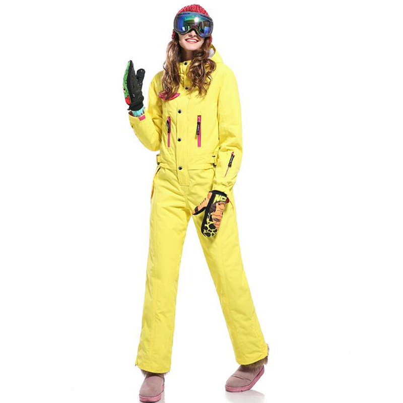 Winter Snowboard  Ski Jacket And Pant Ski Suits Females Jumpsuit Women Snowboard Waterproof Overall Outdoor Mountaineering Wear