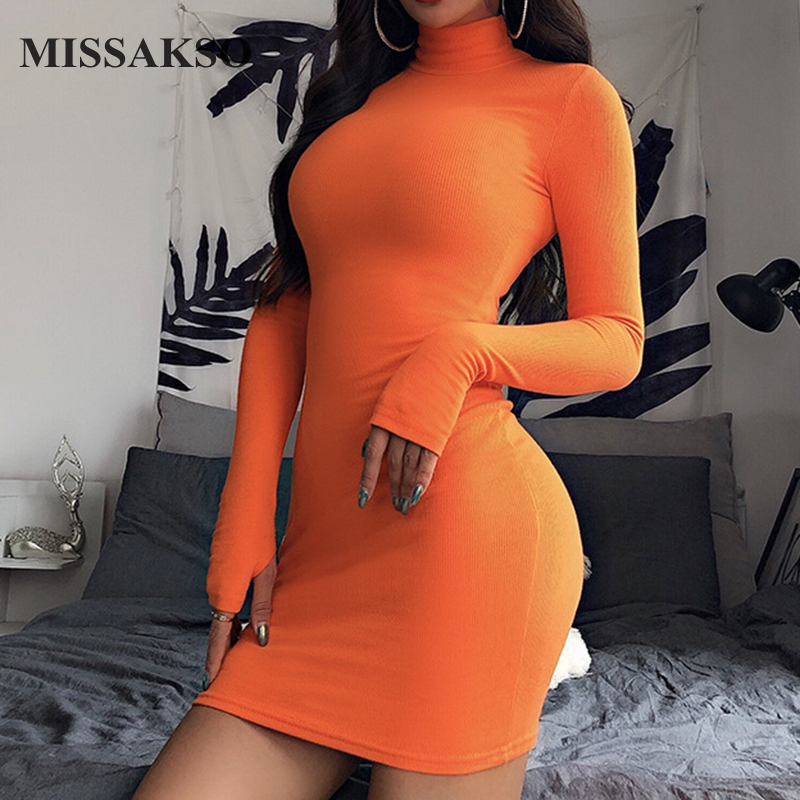 Missakso Women Sexy Bodycon Dress Basic Streetwear Long Sleeve Club Party Autumn Solid Turtleneck Mini Dress
