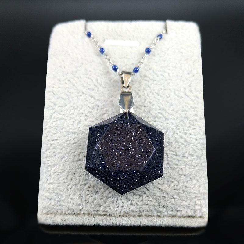 2020 Hexagram Blue Sandstone StainlessSteel Statement Necklace Women Silver Color Chain Necklace Jewelry collar mujer NG26S04