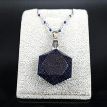 2021 hexagram azul arenito aço inoxidável colar de prata colar de corrente de cor de prata colar de jóias mujer ng26s04