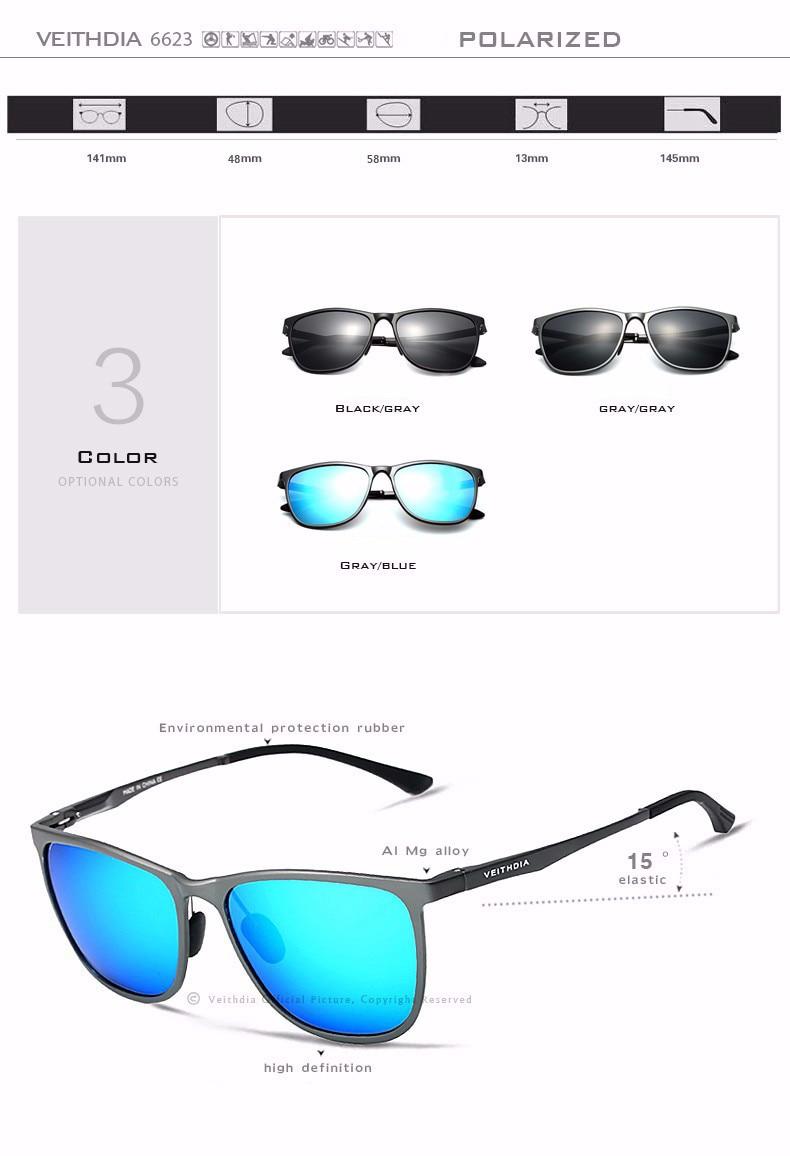 Veithdia óculos de sol masculino polarizado, óculos