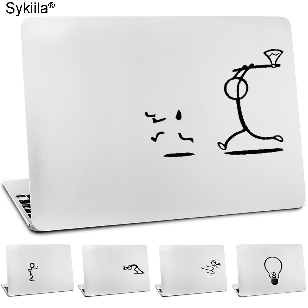 Sykiila Vinyl Skin For Apple Macbook Sticker Air 11 12 13 Pro 13 15 16 Retina Wall Decal Laptop Stickman Touch Guy Notbook Cover