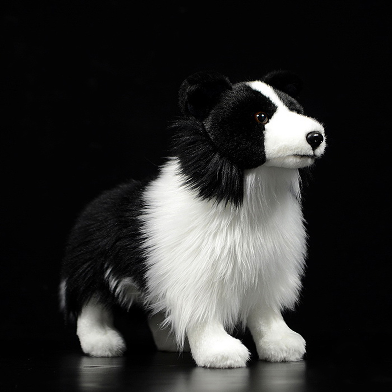 25cm Lifelike Border Collie Plush Toys Soft Puppy Stuffed Animal Dolls Real Life Dog Plush Toys For Kids Christmas Gifts