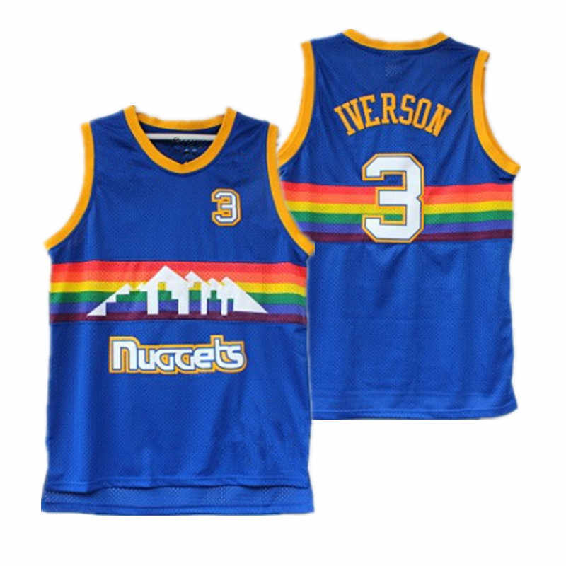 cheap for discount ed8b4 b0b71 Iverson Allen Iverson Nuggets 3 # Blue Snow Mountain Version Jersey Retro  Mesh Supply of Foreign Trade
