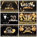 Happy 30 40 50 60th Birthday Party Vinyl Backdrop For Photography Golden Glitters Dots Balloons Portrait Photo Studio Background