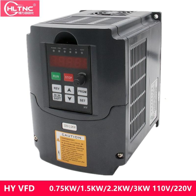 VFD 110V 220V 380V 0.75/1.5/2.2/3 KW 2hp Variable Frequenz Stick CNC stick Inverter Konverter für 3 Phase Motor Speed Control