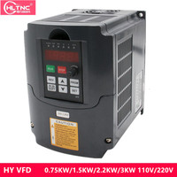 VFD 110V 220V 380V 0.75/1.5/2.2/3 KW 2hp Variable Frequency Drive CNC Drive Inverter Converter for 3 Phase Motor Speed Control