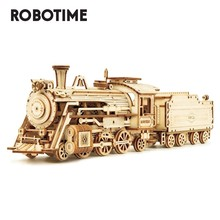 Robotime 308pcs Creative DIY Movable 3D Prime Steam Train Wooden Puzzle Game Assembly Toy Gift for Children Teens Adult MC501(China)
