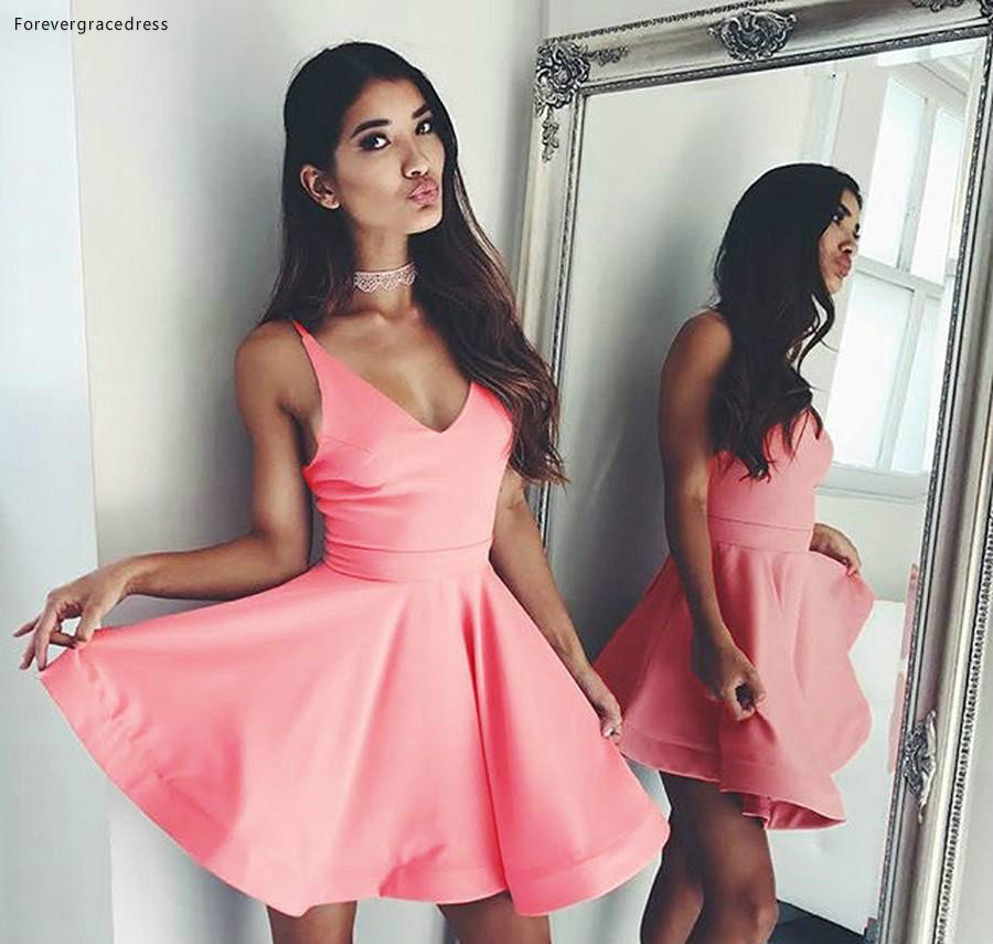 2019 Cheap Pink Short   Cocktail     Dress   A Line V Neck Mini Juniors Sweet 15 Graduation Party   Dress   Plus Size Custom Made