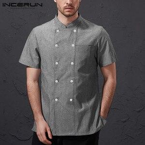 Image 3 - INCERUN ชาย Chef Uniform แขนสั้นสีทึบ STAND COLLAR Double Breasted อาหารร้านอาหารบริการเสื้อ Chef แจ็คเก็ต