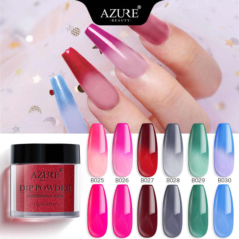 Azure Beauty Thermal Color Changing Dipping Nail Powder Shiny Dip Powder Temperature Change 6 Colors Nail Powder Natural Dry