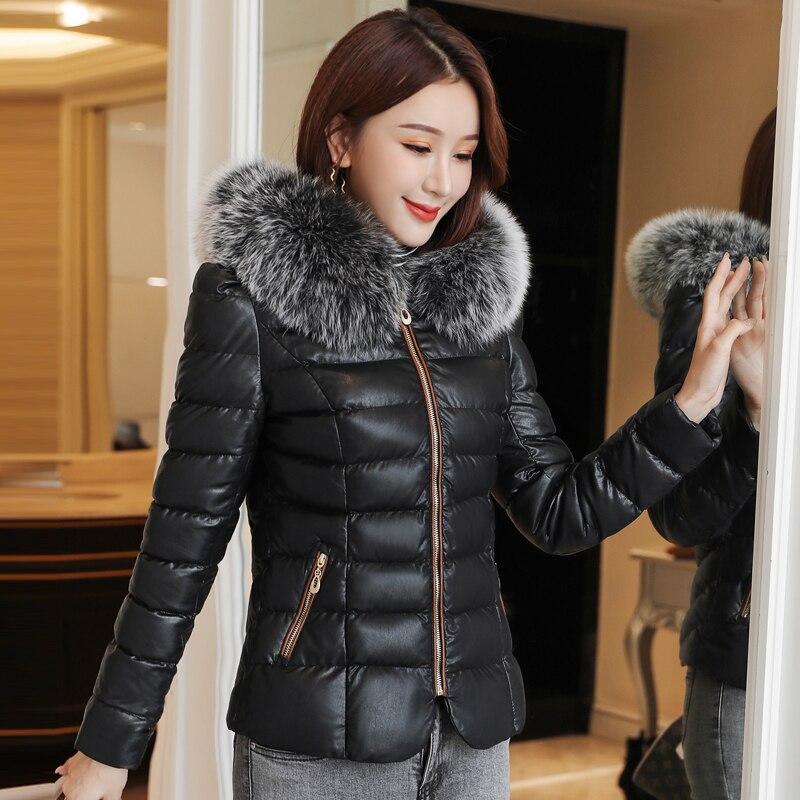 Winter Jacket Women Woman Cotton PU Leather Parkas Coat Jacket Plus Size Korean Fashion Women Cotton padded Fur Hooded Jackets in Parkas from Women 39 s Clothing