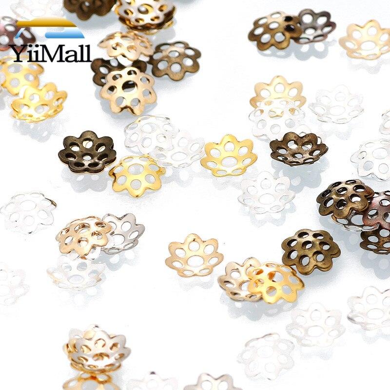 500 шт./лот 6 мм золотые антикварные бронзовые металлические полые цветочные трубы бусины Концевики для изготовления ювелирных изделий своим...