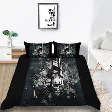 Thumbedding Pistol Bedding Set For Firearms Enthusiast Duvet Cover Black Queen King Twin Full Single Unique Design Bed Set(China)
