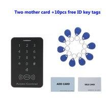 Controle de acesso autônomo do leitor de cartão do teclado em 125khz do controle de acesso do tela táctil, cartão da mãe de 2 pces, etiquetas da identificação de 10 pces, min:1 pces