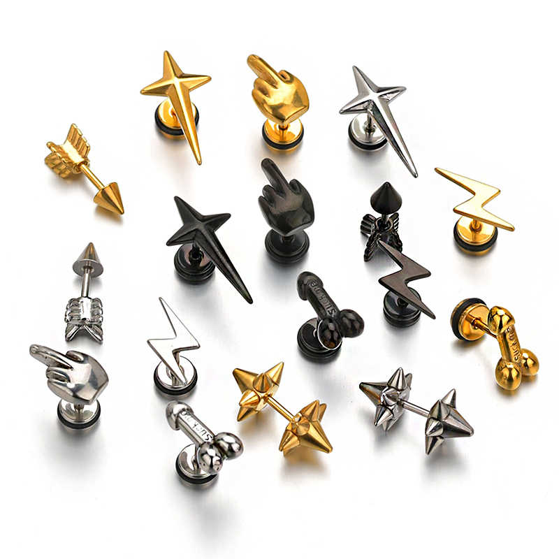 Punk Ear Stud Earrings For Men Stainless Steel Thunder Rockets Arrow Finger Cool Prevent Allergy Gold Black Puncture Earring