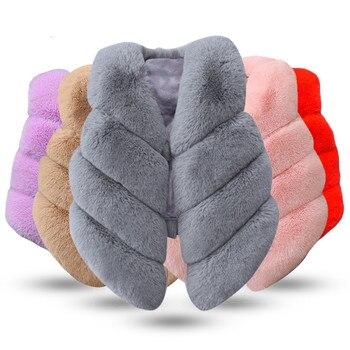 Ropa de abrigo de piel para niñas, chaleco para niños, moda de otoño e invierno, abrigos gruesos y cálidos de piel sintética, prendas de vestir para 3, 5 y 8 años, 2019