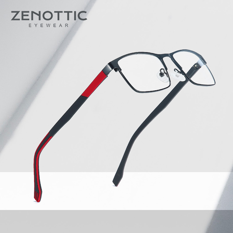 ZENOTTIC Metal Glasses Frame Men Square Prescription Eyeglasses Anti Blue Ray Metal Optical Glasses Women Frames Eyewear BT2102