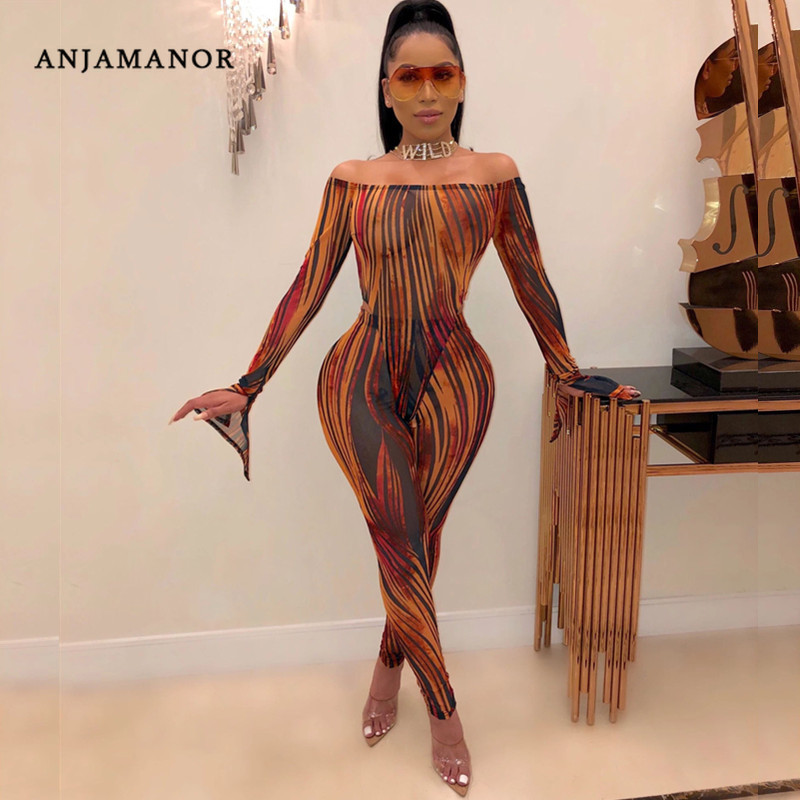 ANJAMANOR Striped Sheer Mesh Sexy 2 Piece Sets Womens Outfits Fall Winter 2019 Night Club Set Bodysuit Top And Pants D35-AC17