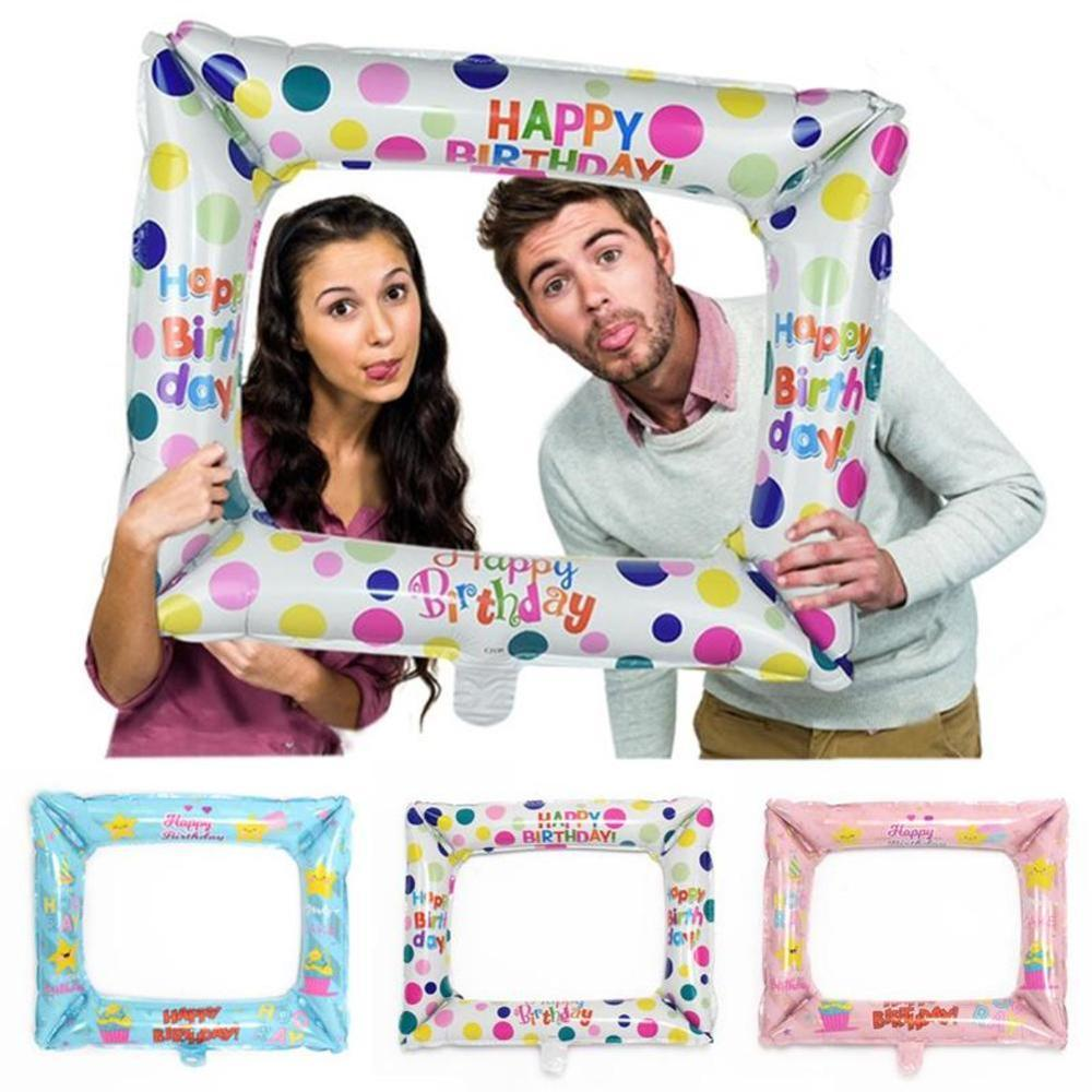1pcs Aluminum Film Balloons Photo Frame Photo Props Inflatable Toys Kids Family Birthday Party Decoration Supplies