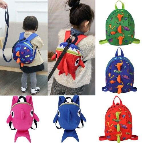Kids School Bags Anti Lost Harnesses Leashes Toddler Dinosaur Shark Backpack Strap Bag For Walking Toddler