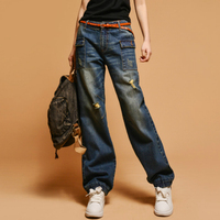 Hole cotton jeans 2019 autumn and winter Fashion casual plus size female women girls loose clothing
