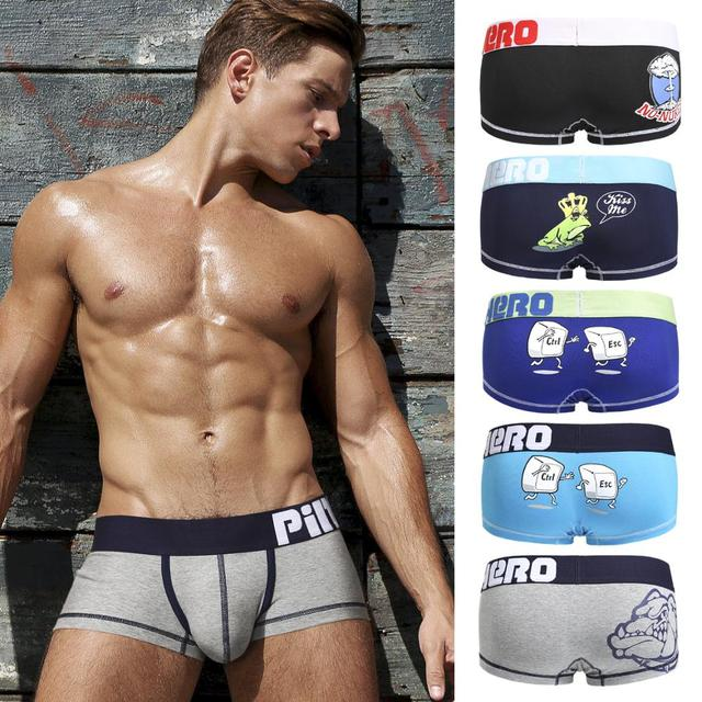 Cool New 5pcs/Lot Pink Heroes High Quality Cotton Underwear Men Boxer Shorts Fashion Cartoon Printing Sexy U Bag Male Underpants