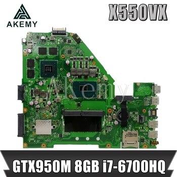 Akemy X550VX Laptop Motherboard For ASUS K550VX X550VX X550VQ FH5900V Mainboard REV 2.0  GTX950M 8GB RAM i7-6700HQ