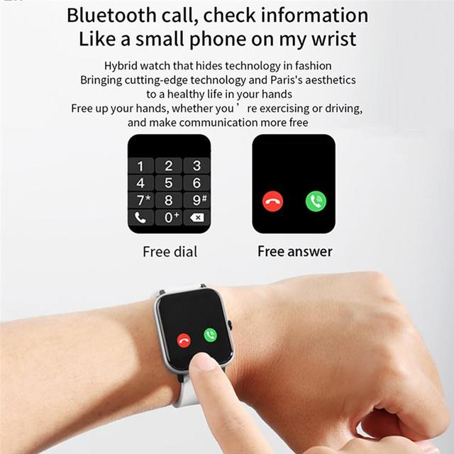 New Smart Watch Electronic Sports HD Touch Bluetooth Call Bracelet with Heart Rate Detector, Pink/Black/Silver Gray/Blue 5