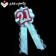 12 Uds 2016 Fiesta blanco y rosa de encaje vintage broche de listón dulce 21 recuerdo de cumpleaños, boda Feliz cumpleaños
