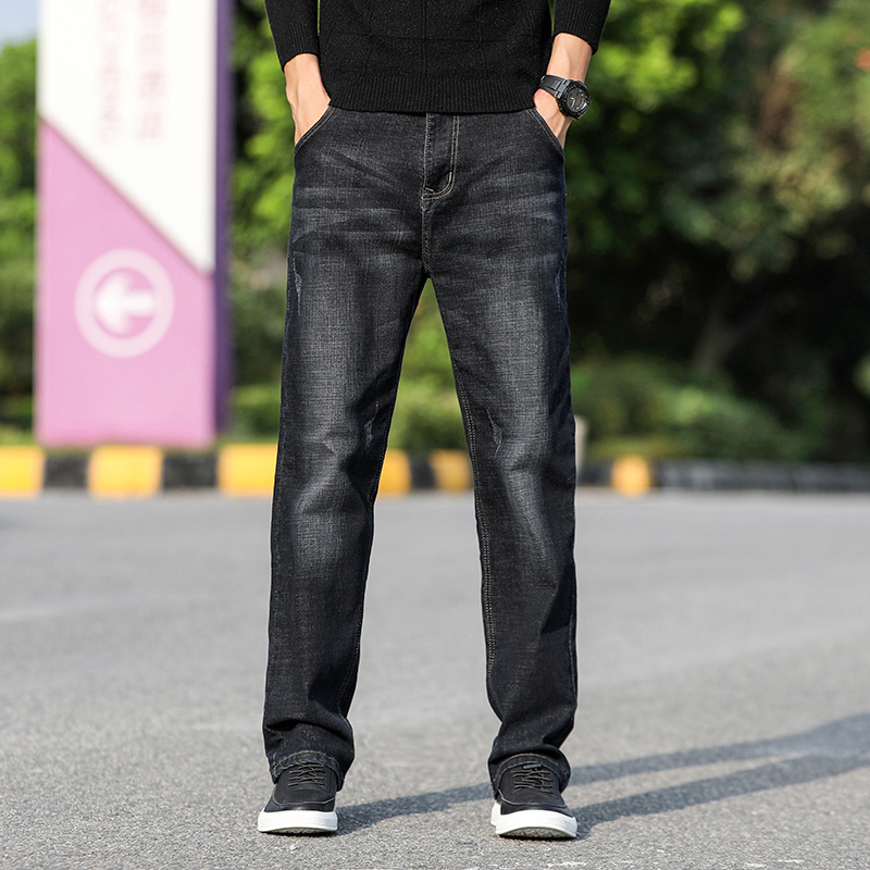 Autumn & Winter New Style Black Jeans Men's Loose Straight Men Plus-sized Fat Popular Brand Pants