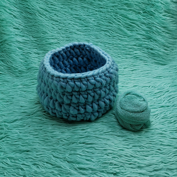 faux fur 150x100cm Newborn Blanket backdrop+Knitting Basket +140*30cm Stretch Knit Wrap for Newborn Photography