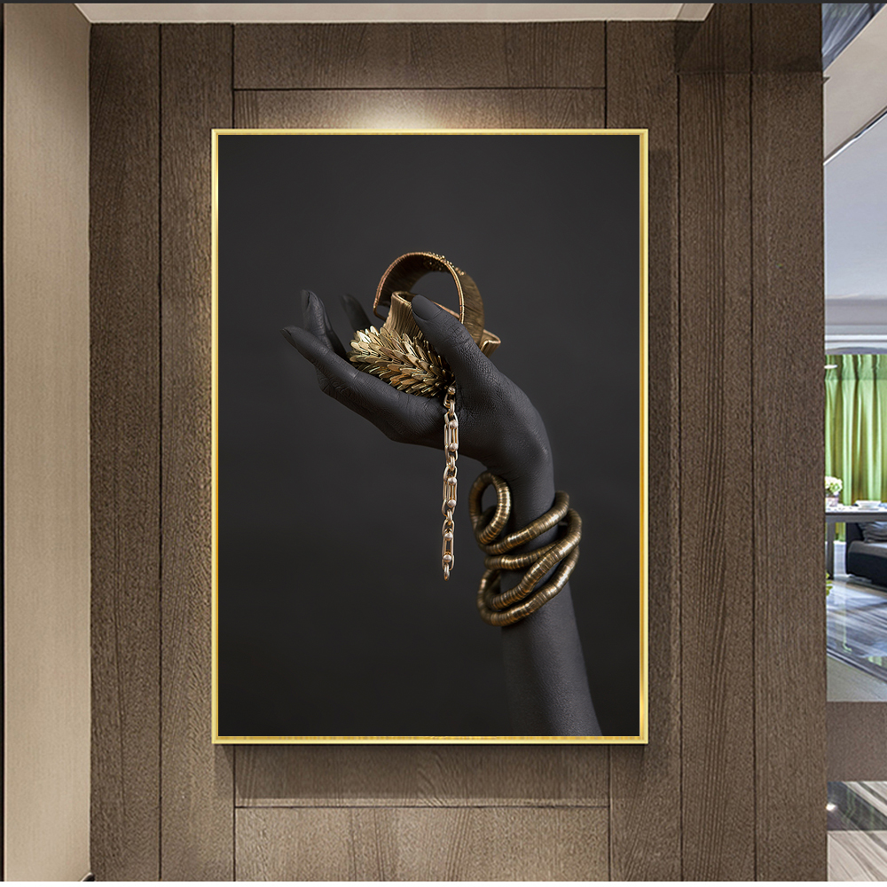 Black Woman's Hand With Gold Jewelry Wall Art Canvas Paintings On The Wall Posters And Prints Pop Art Prints Wall Decoration