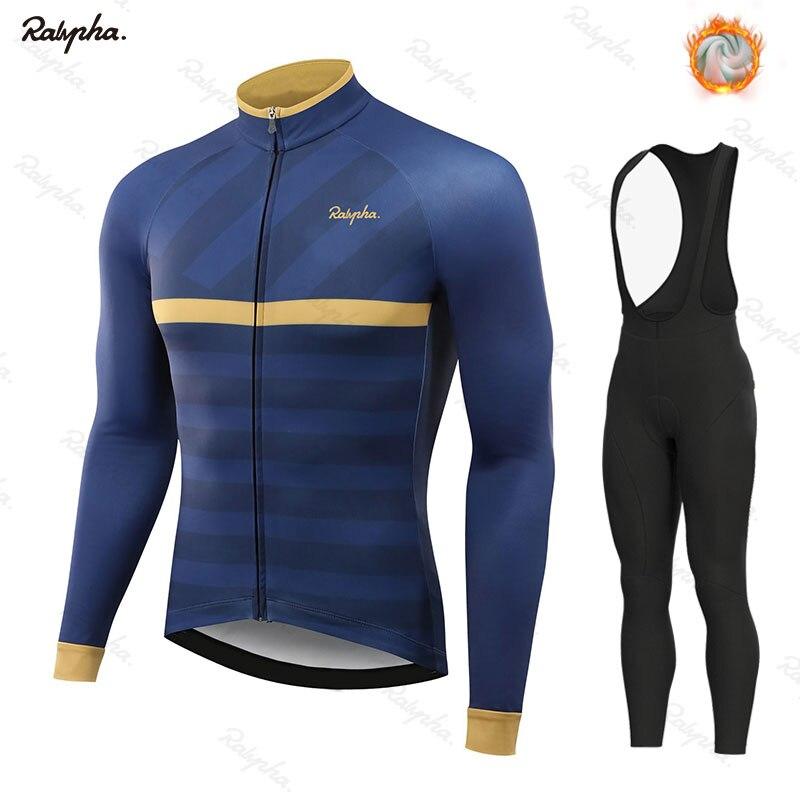 Hiver cyclisme vêtements Rahaing à manches longues vêtements équitation Maillot ensemble thermique polaire Maillot Ropa Ciclismo Invierno garder au chaud