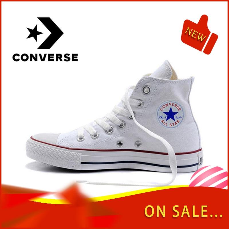 Original converse clássico unisex lona skateboarding sapatos de alta superior anti-escorregadio peso leve laço-up plana sneaksers 101009