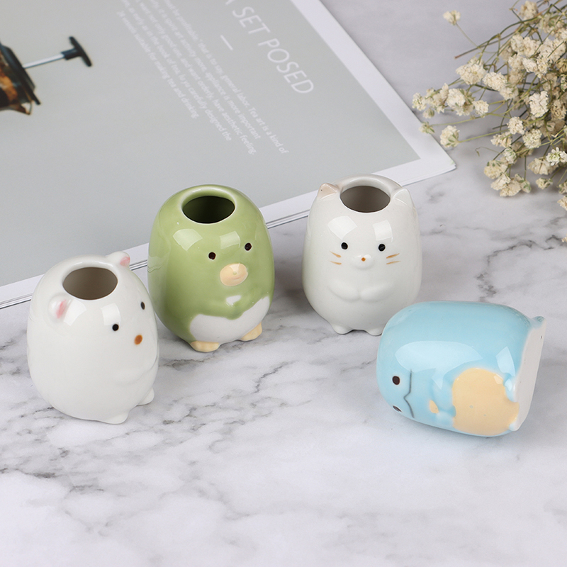 Cartoon Ceramic Toothbrush Holder Toothpick Cotton Swab Organizer Desktop Storage Jar Cute Animals Pens Container Stand image