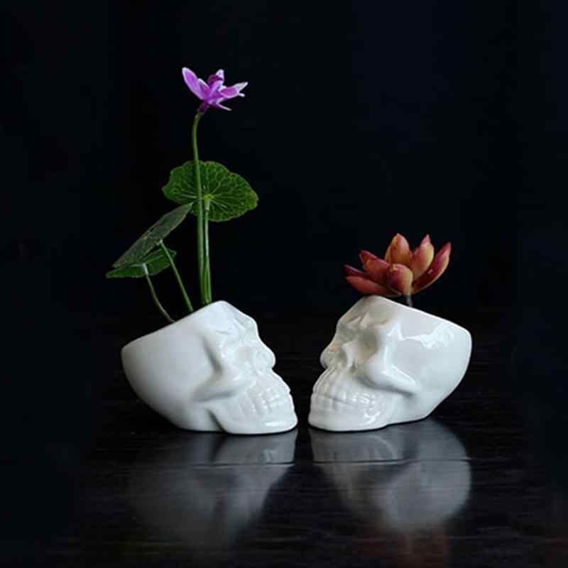 6Pcs ขนาดเล็กหม้อเซรามิคพืชที่ไม่ซ้ำกันหม้อชาวไร่กะโหลกศีรษะดอกไม้หม้อสำหรับ Home Office ตกแต่ง DIY Potted (สีขาว)