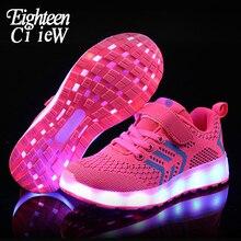 Size 25-37 Glowing Sneakers Led Boy Girls Pink Sport Shoes K