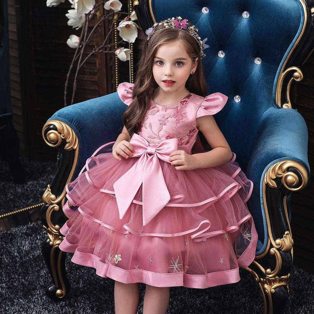 Kids Girl Cake Tutu Flower Dress Children Party Wedding Formal Dress for Girl Princess First Communion Costume New Arrival 2020 5